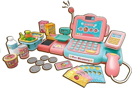 iVansa Caja Registradora de Juguete con Productos de Supermercado, con Calculadora Electrónica, Tarjeta de Crédito, Juguete Electrónico Educativo para Niño - Azul: Amazon.es: Juguetes y juegos