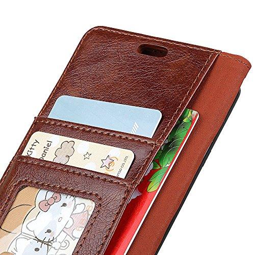 Funda para Huawei P20,SunFay Premium Cuero PU Cover Magnético Flip Folio Ranura para Tarjetas Protective Billetera Funda Case con Stand Función para Huawei P20 - Negro Marron