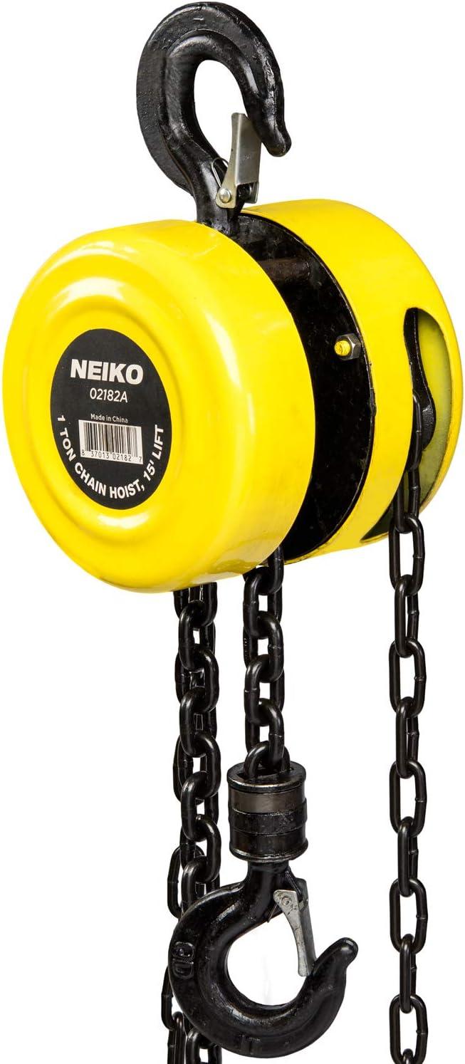 amazon.com: neiko 02182a chain hoist with 2 hooks, 1 ton capacity   manual  hand chain block, 15 foot lift: home improvement  amazon.com