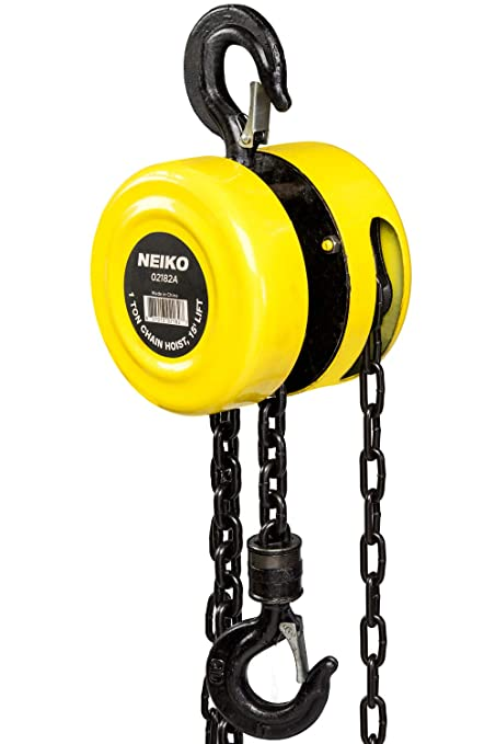 Neiko 02182A Chain Hoist with 2 Hooks, 1 Ton Capacity | Manual Hand on