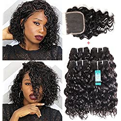 Malaysian Water Wave 4 Bundles With Closure Human Remy Hair Extension Natural Wave Curly Hair Wet and Wavy Human Hair Cheap Bundles of Hair Sale 50G/PC Unprocessed Virgin Hair Can Be Dyed Natural Curl