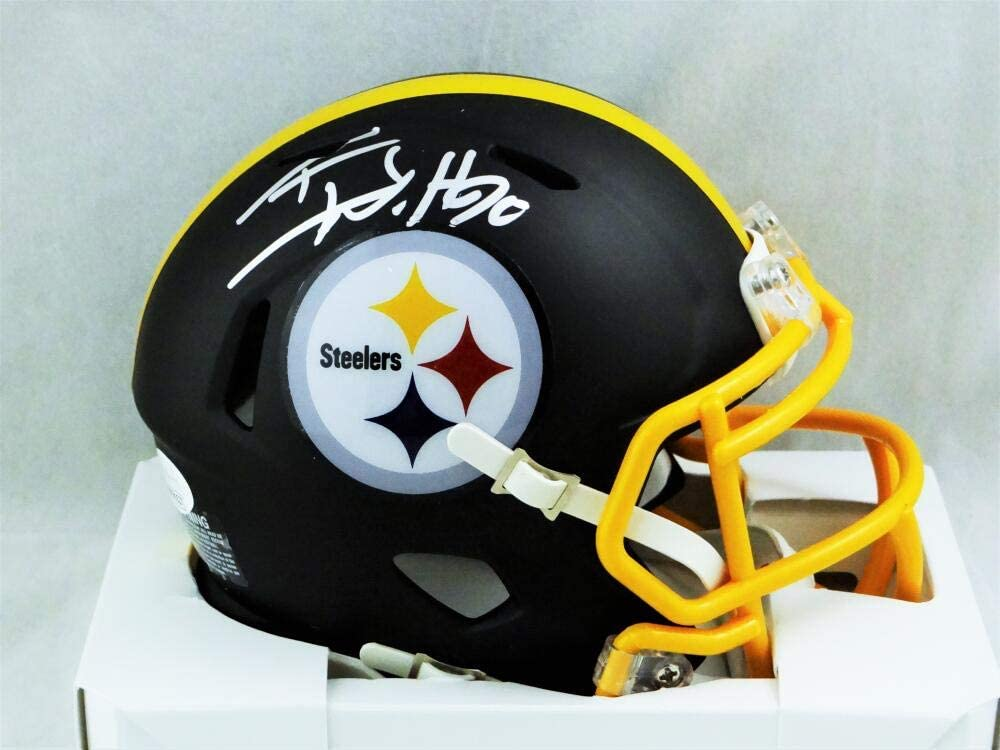 JSA W Auth Silver TJ Watt Autographed Pittsburgh Steelers Flat Black Mini Helmet
