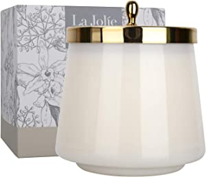 LA JOLIE MUSE Vanilla Cake Scented Candle, Natural Soy Candle, 75 Hours Long Burning, Glass Jar Candle, 12.3 Oz