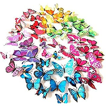 72 Pcs 3d Butterfly Stickers Home Decoration DIY Removable 3d Vivid Special  Man Made Lively