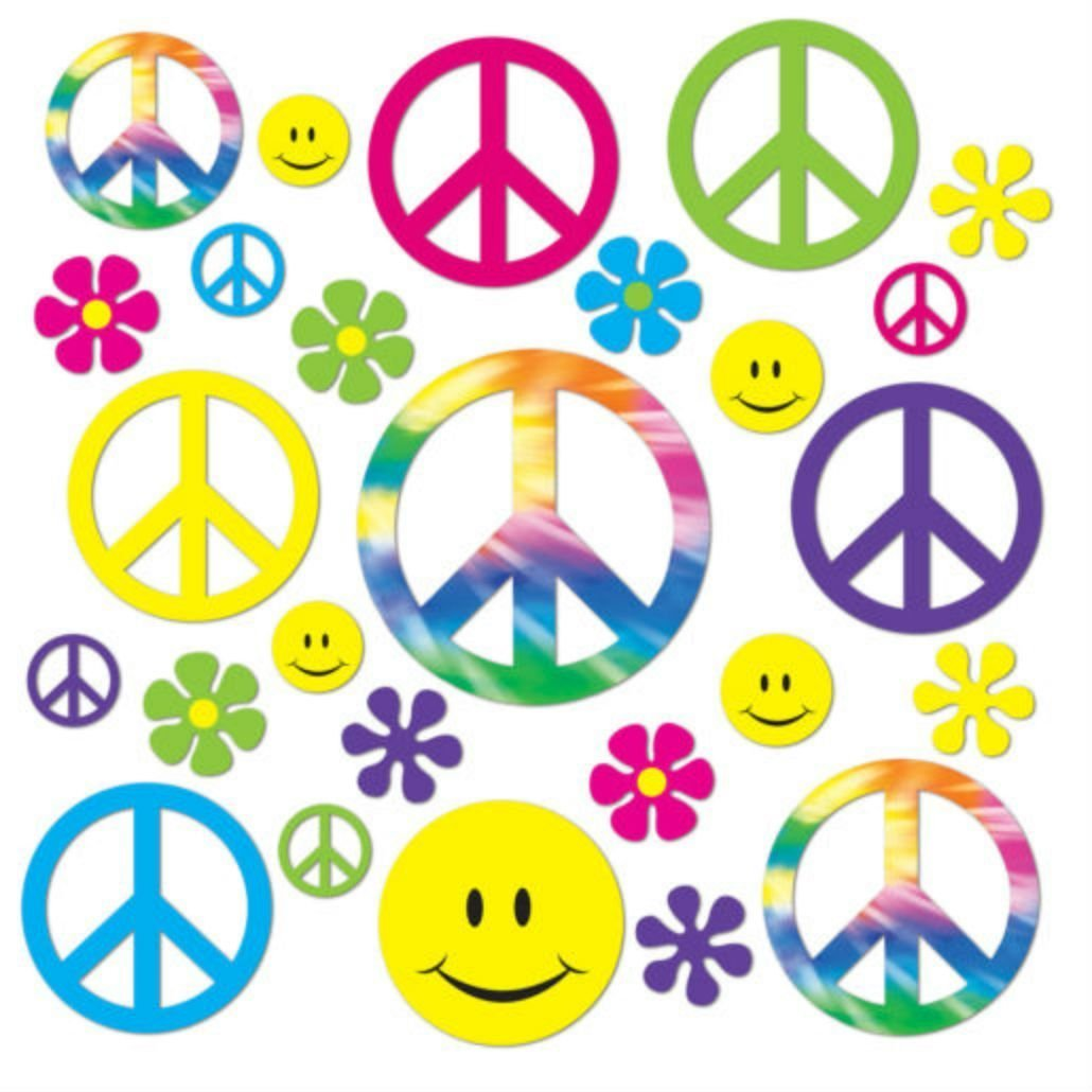 42 Groovy 60's PEACE, Flower Power, Smiley Cutouts Birthday Party Dance Decoration