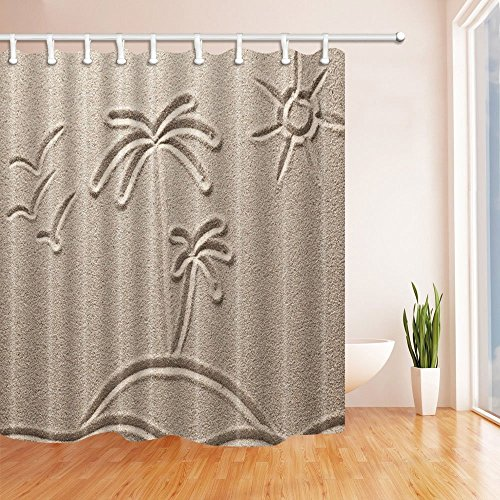 - HiSoho Sand Painting Decor, Coconut Trees and Sun Silhouettes on Beach, Resistant Polyester Fabric Shower Curtains for Bathroom, Shower Curtain Hooks Included, 71X71 in