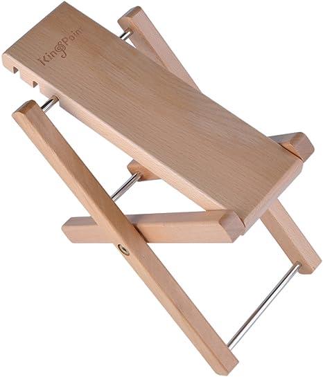 kingpoint Hartholz Gitarre Fußhocker 3 Adjusatble Stufen höhenverstellbar natürliches holz