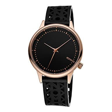 KOMONO Women s Estelle Cutout Stainless Steel Japanese-Quartz Watch with Leather Strap, Black, 20 Model KOM-W2651