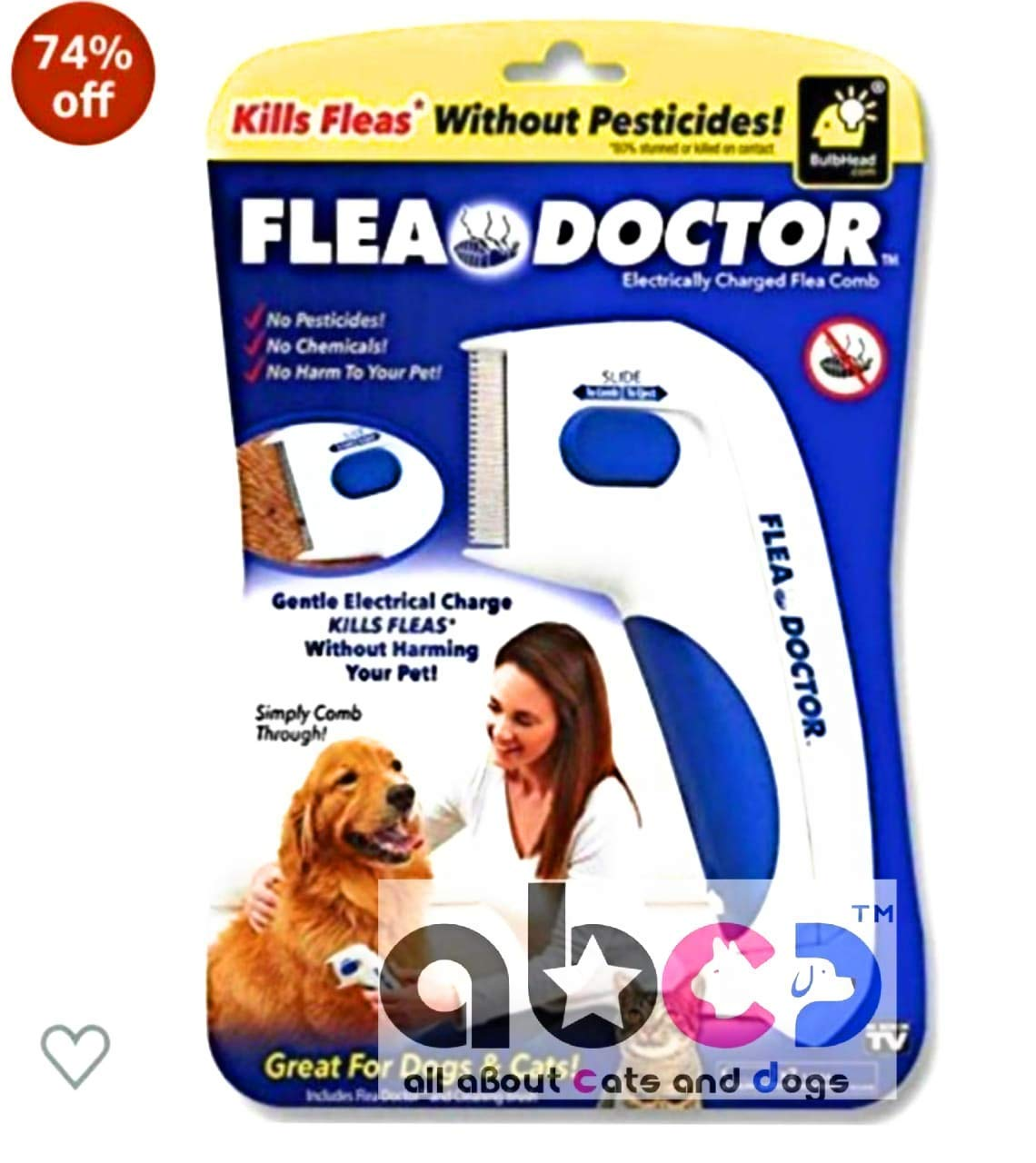 AbCD Advanced Soundless Flea Doctor Electronic Comb without Pesticides for Pets, Dogs, Cats (B07ZTJN59M) Amazon Price History, Amazon Price Tracker
