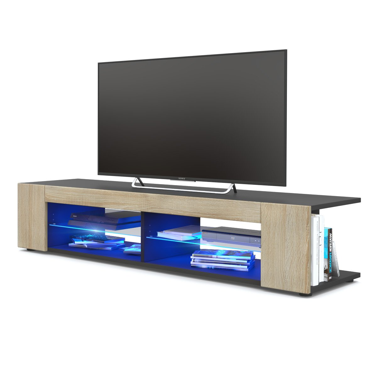 Front in Rough-sawn Oak with LED in blueee Vladon TV Unit Stand Movie, Carcass in Black matt Front in Grey High Gloss