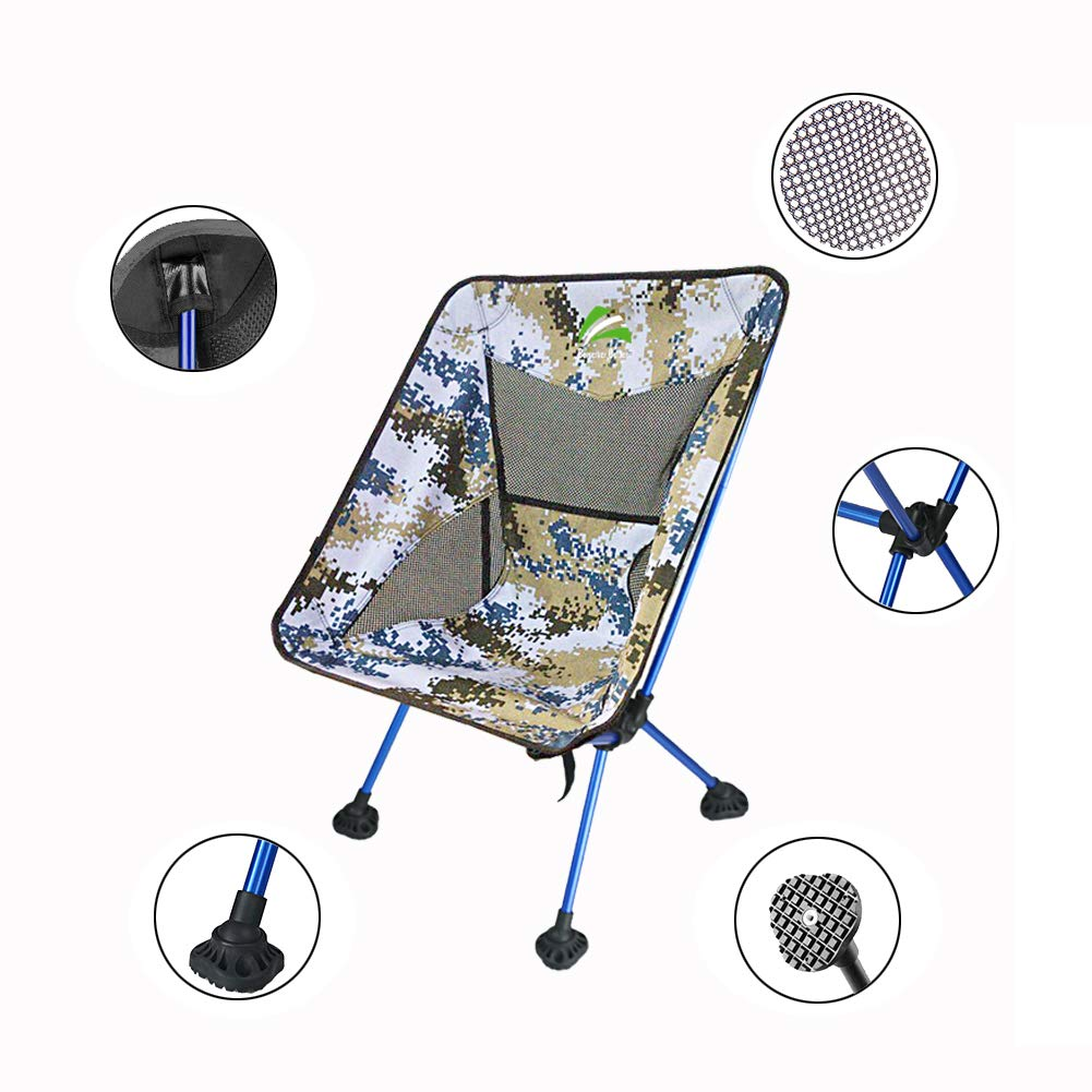 3eedb5811328 Details about Portable Ultralight Compact Folding Camping Chair adjustment  Feet Outdoor Hiking