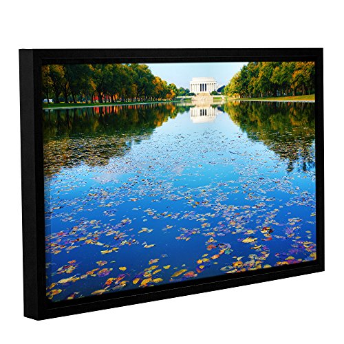 - ArtWall Steve Ainsworth's Lincoln Memorial and Reflecting Pool I Gallery Wrapped Floater Framed Canvas, 16 x 24