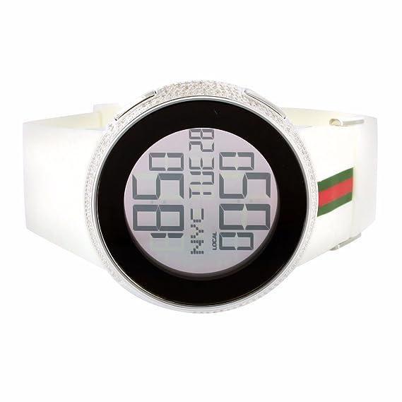 Para hombre reloj Digital I GUCCI YA114214 2 zona horaria blanco diamante 4 CTS: Amazon.es: Relojes