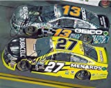 2X AUTOGRAPHED Paul Menard & Casey Mears 2016 Charlotte Motor Speedway (#27 Menards - #13 Geico Military) On-Track Racing Dual Signed 8X10 Inch Picture NASCAR Glossy Photo with COA