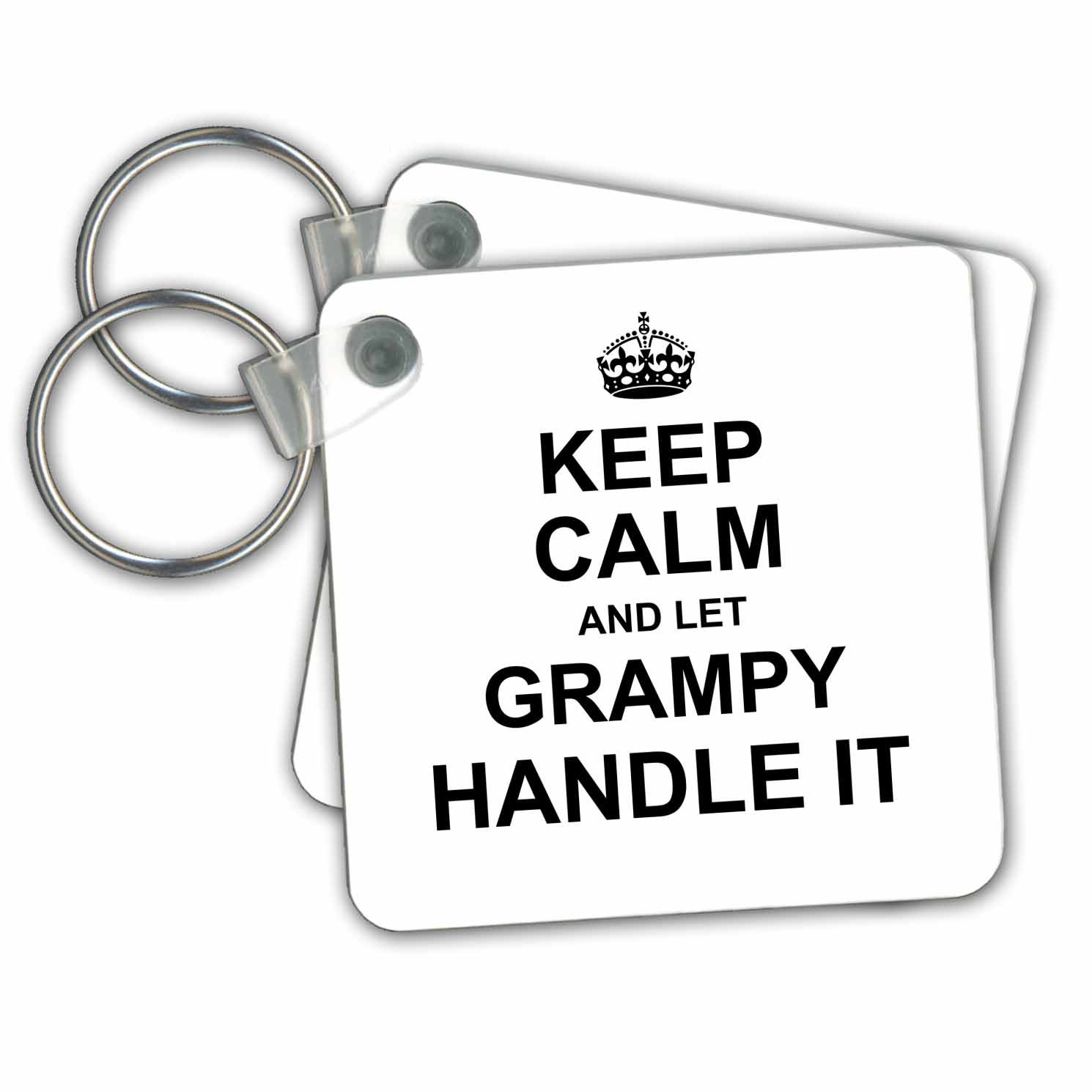3dRose Keep Calm and Let Grampy Handle It. Fun Funny Grandpa Grandfather Gift - Key Chains, 2.25'' x 2.25'', Set of 2 (kc_233117_1)