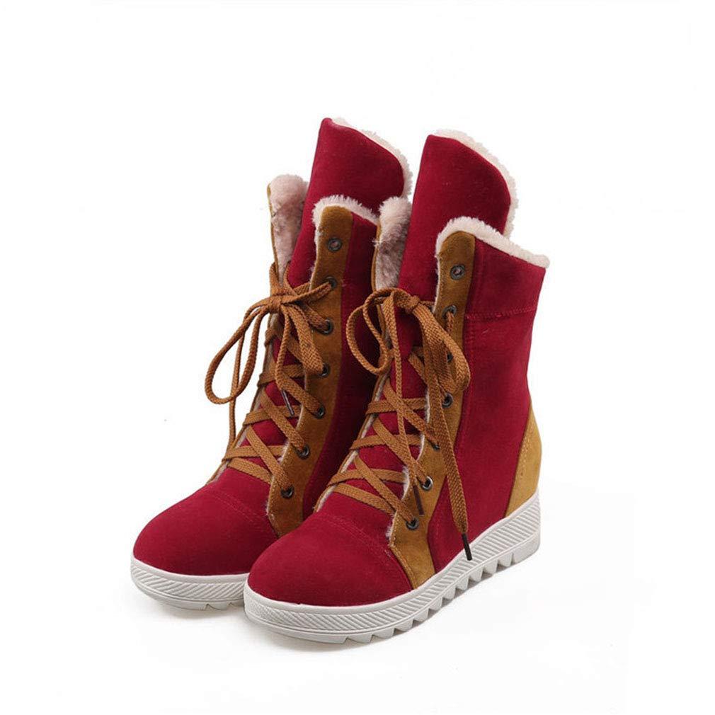 Hy Damen Freizeitschuhe Winter Wildleder Lace-up Snow Stiefel Stiefel Damen Flat Large Größe Stiefelies/Stiefeletten Winter Stiefel (Farbe : Rot, Größe : 40)