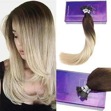 """fe171a379a0d39 LaaVoo 20""""/50cm Echthaar Extensions Keratin Bondings Haarverlangerung  1G 50S Stick I-Tip"""