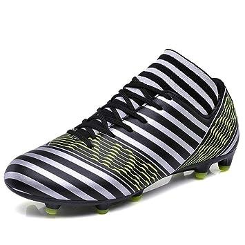 XUE Zapatillas de fútbol Lovers de Piel, Tacos de fútbol, Botas de fútbol, Zapatos de Tacos Largos, Zapatillas de Entrenamiento para Hombre con Cordones.