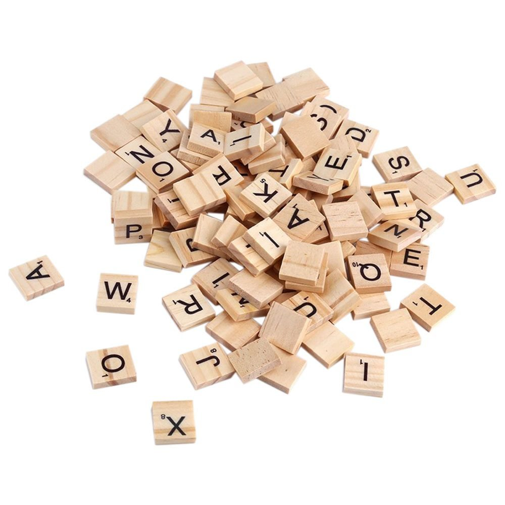 SODIAL(R) 100x Wooden Alphabet Tiles Black Letters & Numbers For Scrabble Kid Child Educational Drawing Painting Toy Gift, Wood color 125723