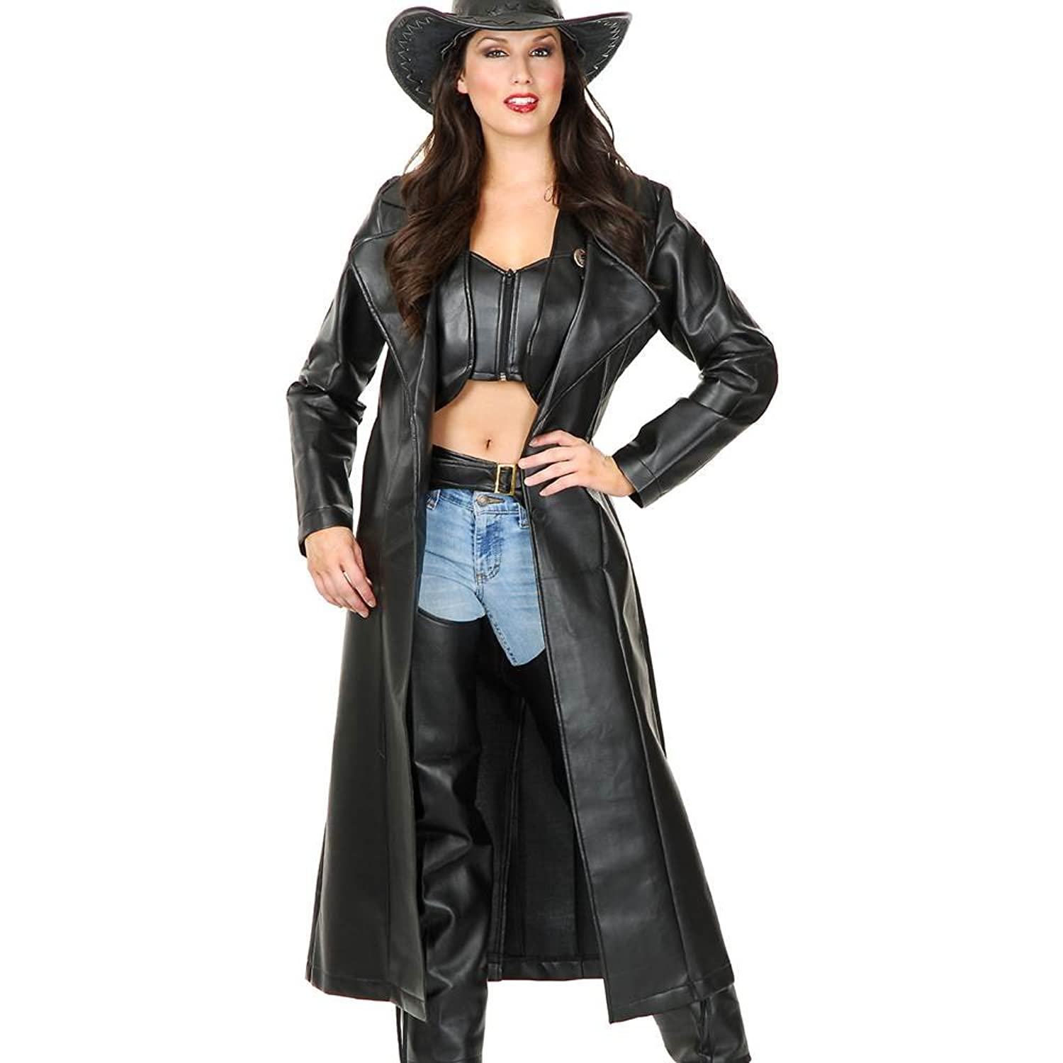 Women's Black Leather Look Duster