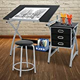 ZENY Adjustable Drafting Table Art & Craft Drawing Desk Rolling Art Hobby Folding w/Stool