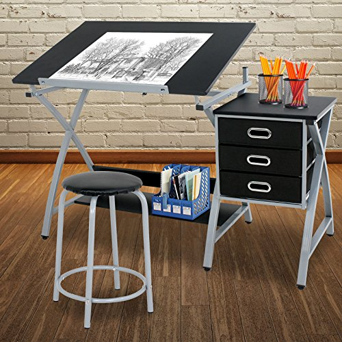 Adjustable Drafting Tables - ZENY Adjustable Drafting Table Art & Craft Drawing Desk Rolling Art Hobby Folding w/Stool