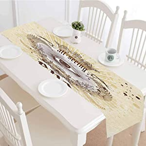 Eye Table Runner,Artistic Vintage Emblem Eye Victorian Laurel Branches Crown Calligraphy Tabletop Collection for Dinner Parties Wedding Events Decor,12x48 Inch,Pale Yellow Brown White