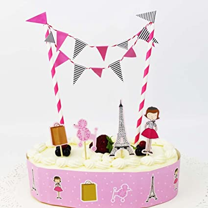 Pink Fashion Girls Birthday Cake Bunting Topper Poodle Eiffel Tower Toothpick Wrapper Sets Baby Shower Party