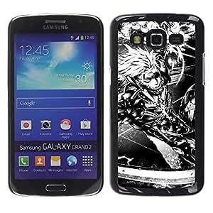 EJOY---Cubierta de la caja de protección la piel dura para el / Samsung Galaxy Grand 2 / --Ciber Guerrero