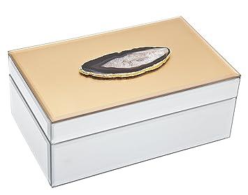 Amazoncom Philip Whitney 8 Mirror Gold Rectangular Jewelry Box