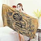 Yoga Mat Towel Vintage Decor Bingo Game with Ball and Cards Pop Art Stylized Lottery Hobby Celebration Theme Highly Absorbent Bath Towel 55''x27.5'' Multi