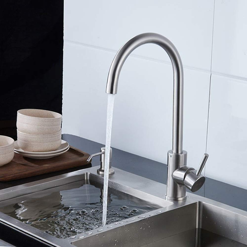 Ppigle Kitchen Hot And Cold Faucet Stainless Steel Sink Sink Basin Faucet Can Be Rotated Single Hole Home Stainless Steel, Hot And Cold, No Rust (Size : A)