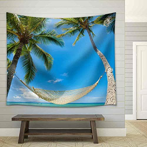 Tropical Palm Trees and Hammock Fabric Wall