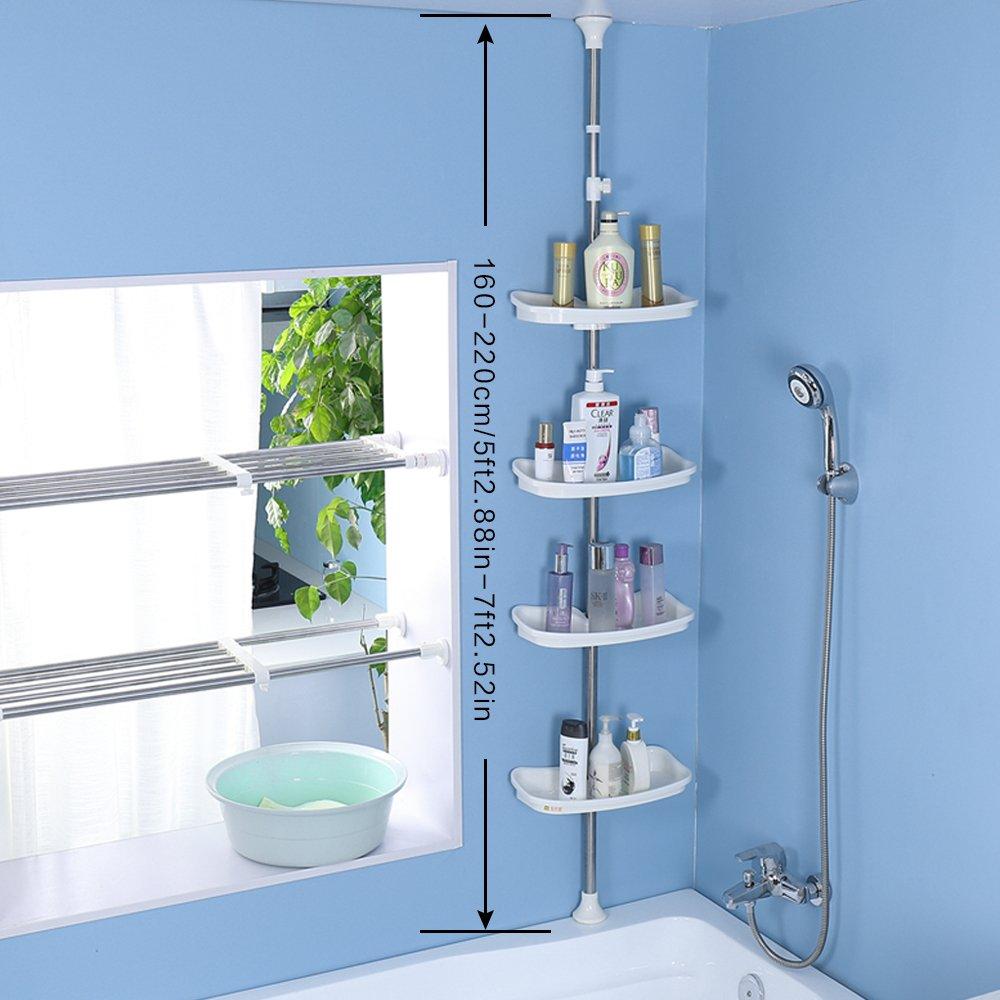 Amazon.com: Baoyouni Bathroom Tension Pole Corner Shower Caddy ...