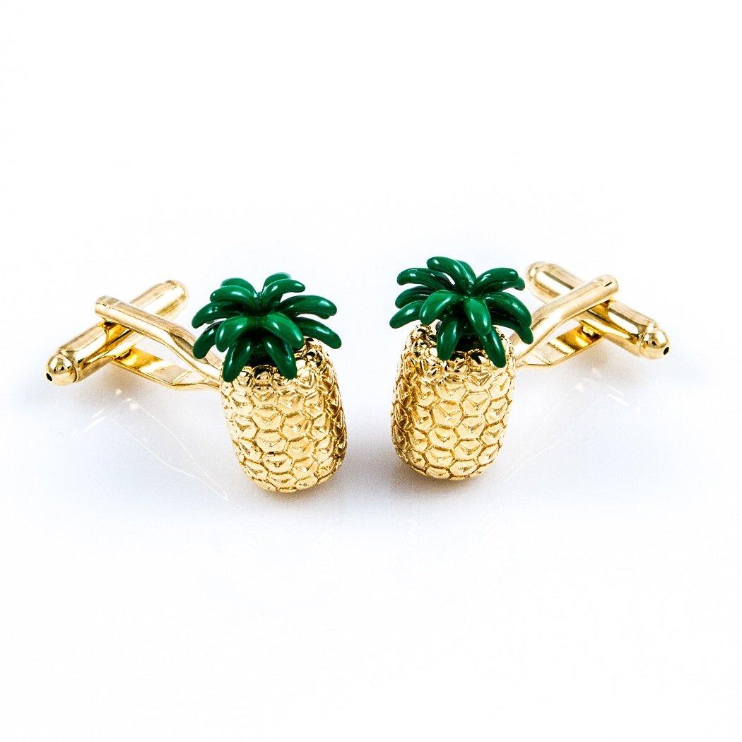 MRCUFF Pineapple Hawaii Fruit Cook Chef Pair Cufflinks in a Presentation Gift Box & Polishing Cloth