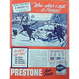 Prestone Anti-Freeze, 40's vintage advertisement. Color Illustration, emergency call, original 1947 Magazine Art