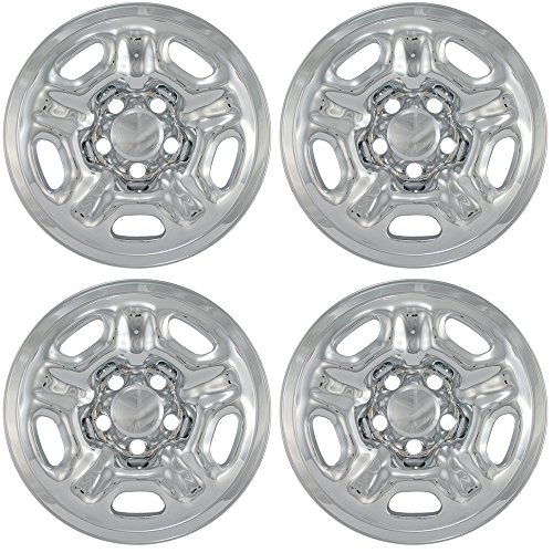OxGord 15 inch Hubcap Wheel Skins for 2005-2016 Toyota Tacoma-(Set of 4) Wheel Covers- Car Accessories for 15inch Chrome Wheels- Auto Tire Replacement Exterior Cap Cover ()