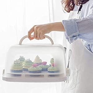 Square Cake Carrier Holder with Portable Handles and Translucent Lid Plastic Cupcake Container Suitable for 10 inch Diameter Cake or Less (White)