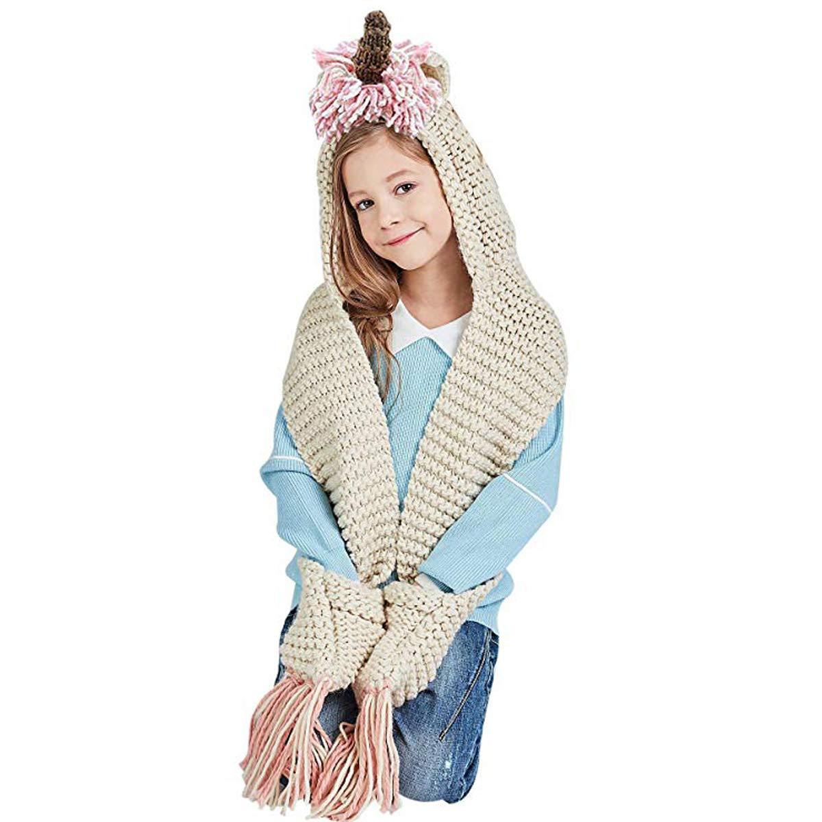 Hiver Licorne Bonnet écharpe - Femme Fille - Ensemble d hiver en tricot  écharpe et 10146dd9127
