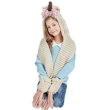 Girls Unicorn Hat with Scarf 7af4470e8bc
