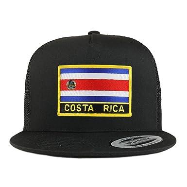 3ef6c22655a66 Trendy Apparel Shop Costa Rica Flag 5 Panel Flatbill Trucker Mesh Snapback  Cap - Black