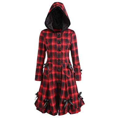 44dbb06bc96 Women Victorian Gothic Kstare Steampunk Long Jacket Retro Lace Up Hooded  Plaid Coat Tailcoat Winter Warm