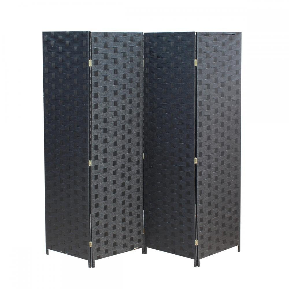 Wooden Mesh Woven Design 4 Panel Folding Screen Room Divider Screen