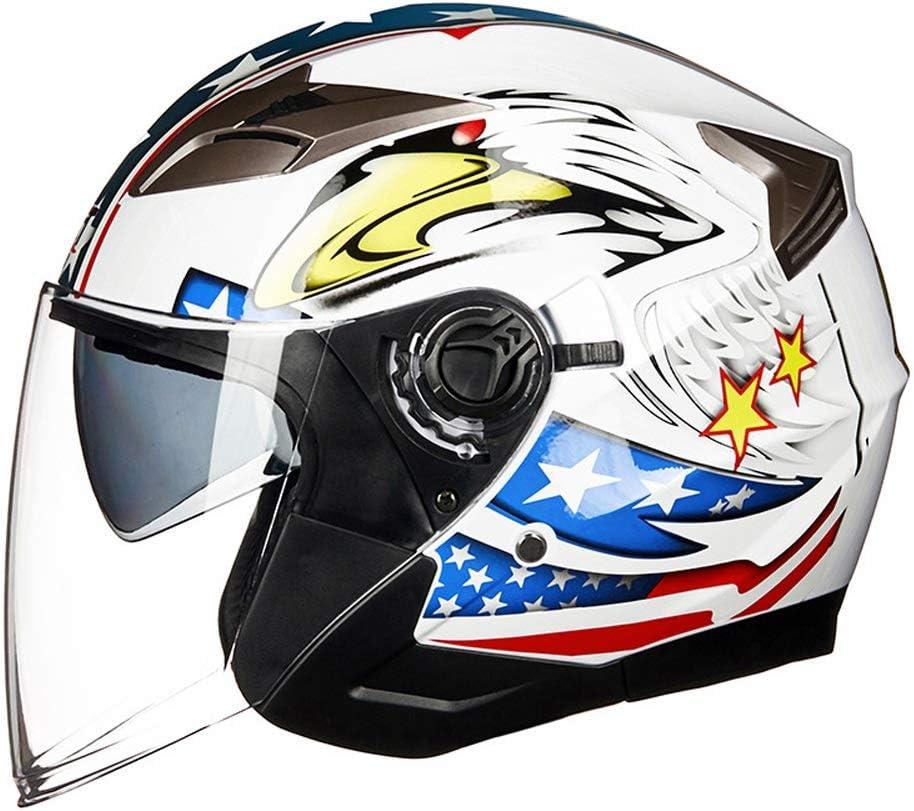 L.W.SURL Casco de Motocicleta La Mitad de Cara Daul Viseras Cascos de la Motocicleta for los Hombres de Las Mujeres de Seguridad Eléctrica Doble Casco de la Moto de la Lente for 4 Estaciones