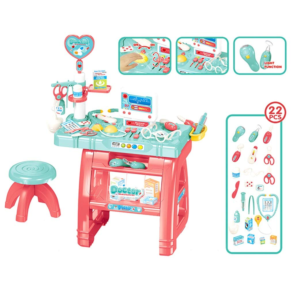 Loeiwg Children's Doctor Pretend Play Set, Portable Toy Playset Simulation Stethoscope Injection Set - Hospitcal Medical Table Playset Preschool Educational Toys (21.65x14.96x30.31in, Multicolor)