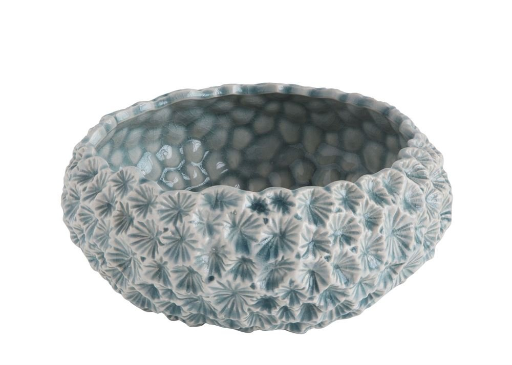 Heart of America Round Ceramic Flower Pot Light Blue With Floral Texture