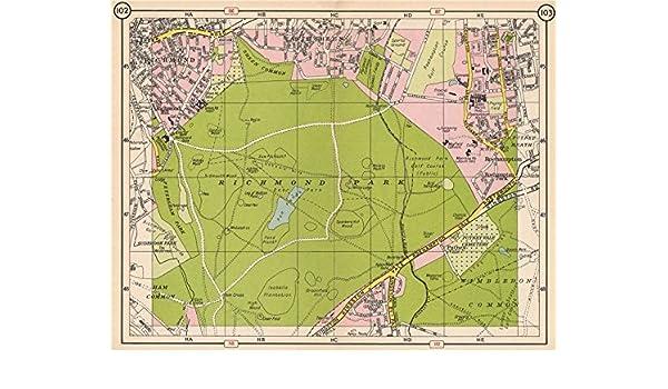 Richmond London Map.Amazon Com Richmond Park East Sheen Roehampton Kingston Vale