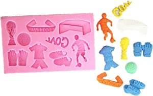 Allforhome 9 Cavity Soccer Football Match Theme Candy Cupcake Toppers Silicone Mold, Food Use Grade Sugarcraft Cake Decoration Food Grade Icing lace Mould