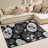Unique Day of the Dead Halloween Decorations Floral Sugar Skulls White Area Rug Pad Non-Slip Kitchen Floor Mat for Living Room Bedroom 5′ x 7′ Doormats Home Decor For Sale