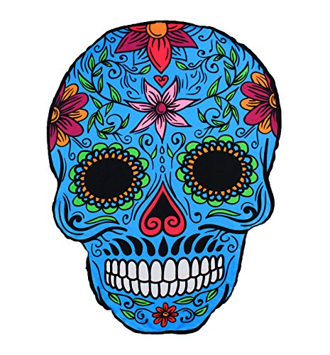 GOLDEN SOURCE Unique Design Funny Oversized Large Cartoon Sugar Skull Beach Towel Blanket Throw Yoga Mat Sunscreen Shawl Soft Lightweight Absorbent Perfect for Beach, Pool, Lake, Outdoor -